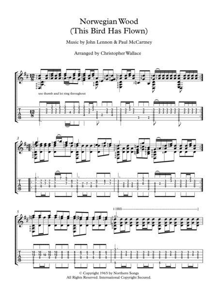 Norwegian Wood (This Bird Has Flown)- Arranged for Solo Guitar