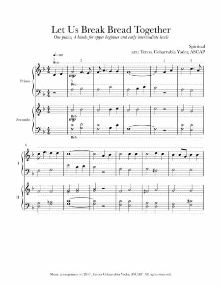 Let Us Break Bread Together - Gospel Spiritual Duet for 1 Piano/4 hands (Late Beginner/Early Intermediate)