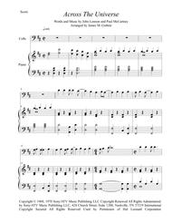 The Beatles: Across The Universe for Cello & Piano