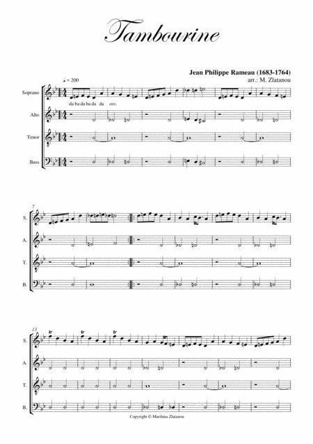 J. Ph. Rameau: TAMBOURINE, for SATB choir a cap.