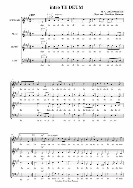 M. A. Charpentier, intro TE DEUM, for SATB choir a cappella