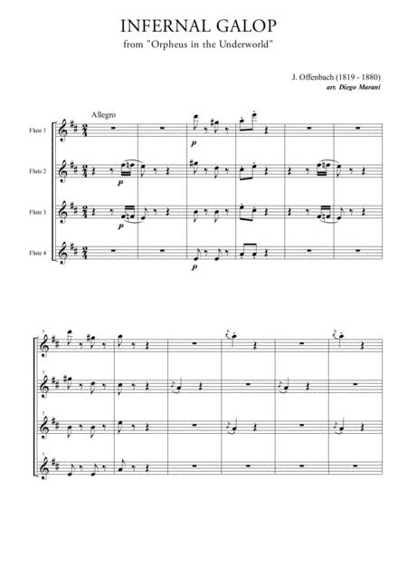 Infernal Galop (Can Can) for Flute Quartet