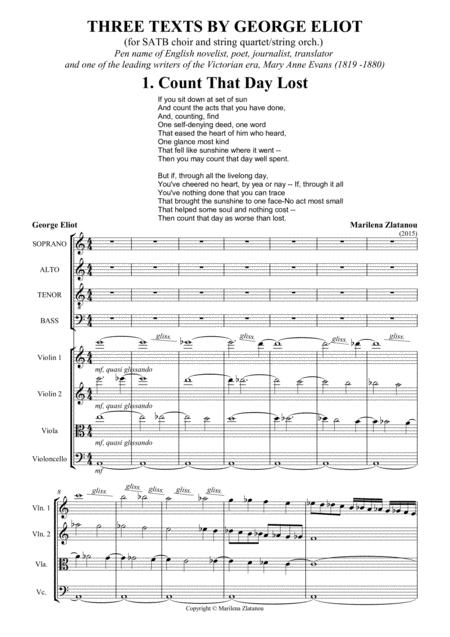 THREE TEXTS BY GEORGE ELIOT, for SATB choir ang strings