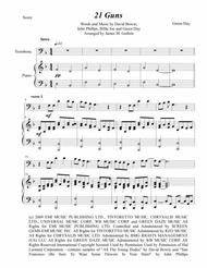 Green Day: 21 Guns for Trombone & Piano