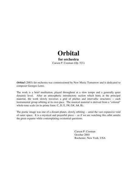 Carson Cooman: Orbital for orchestra, score only