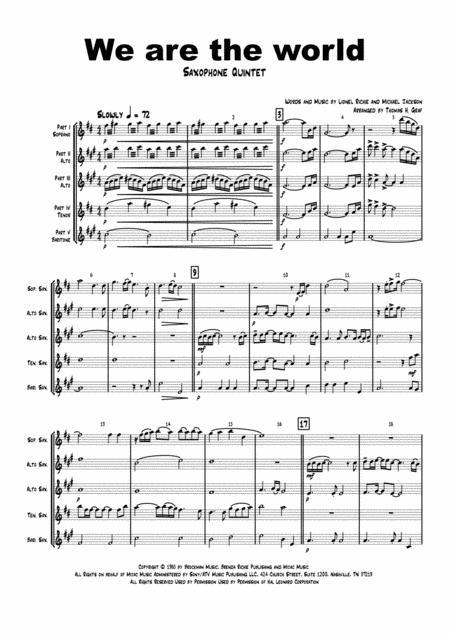 We are the world - Michael Jackson/Lionel Richie - Saxophone Quintet