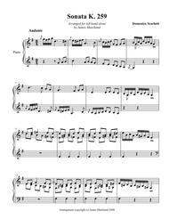 Scarlatti Sonata K259 arr. for left hand alone