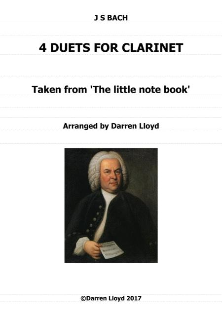 Clarinet duets - 4 duets from Bach's 'Little notebook'.