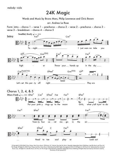 24K Magic — lead sheet for viola