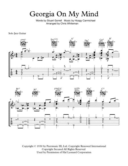 Download Georgia On My Mind - Jazz Guitar Chord Melody Sheet Music ...