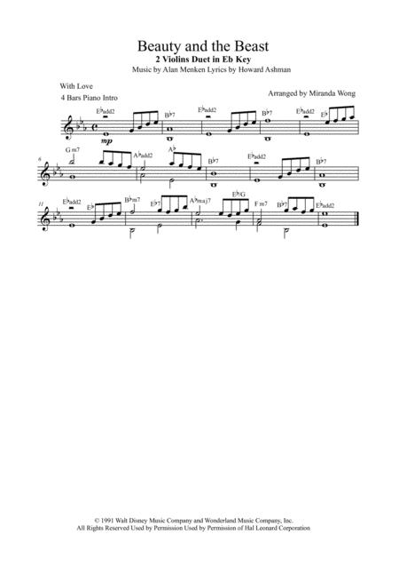 Beauty And The Beast - 2 Violins and Cello (String Trios)