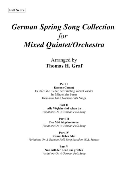 German Spring Song Collection - 5 Concert Pieces - Multiplay - Full Score