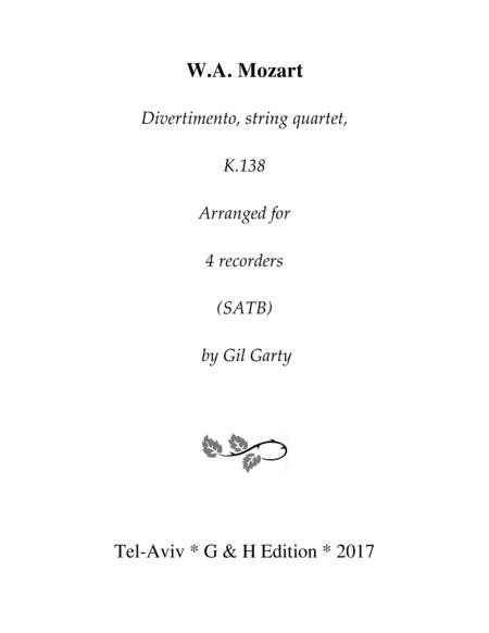 Divertimento, K.138 (arrangement for 4 recorders)