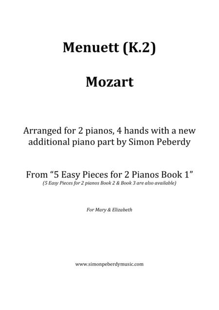 Menuett / Minuet (W A Mozart) in a new, easy arrangement for 2 pianos by Simon Peberdy