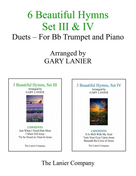 6 BEAUTIFUL HYMNS, Set III & IV (Duets - Bb Trumpet and Piano with Parts)