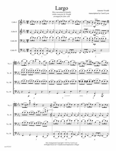 CELLO QUARTET SWIPES:   VIVALDI Adagio Transcription for 4 cellos