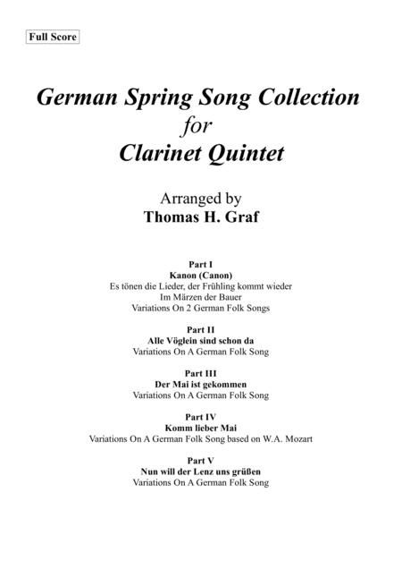 German Spring Song Collection - 5 Concert Pieces - Clarinet Quintet