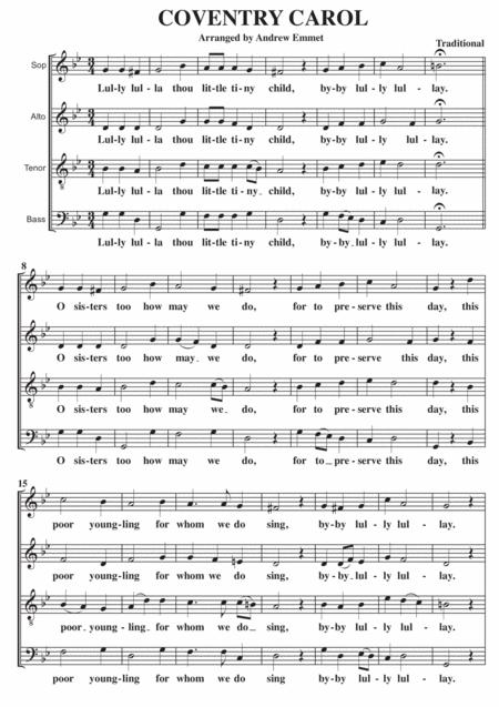 coventry carol a cappella satb by traditional - digital sheet music for  score - download & print s0.208127 | sheet music plus  sheet music plus