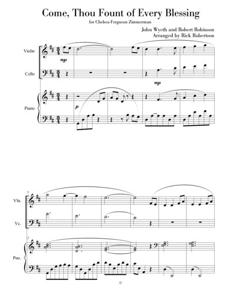 Come,Thou Fount of Every Blessing (for piano, violin, cello)