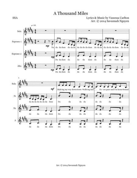 A Thousand Miles (SSA A Cappella)