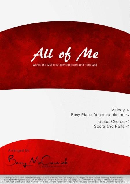 Download All Of Me Melody With Chords And Easy Piano Accomp Sheet