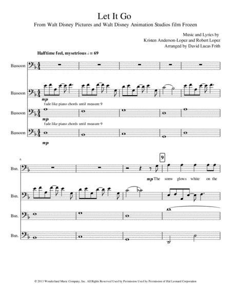 Let It Go (from Frozen) Bassoon Quartet
