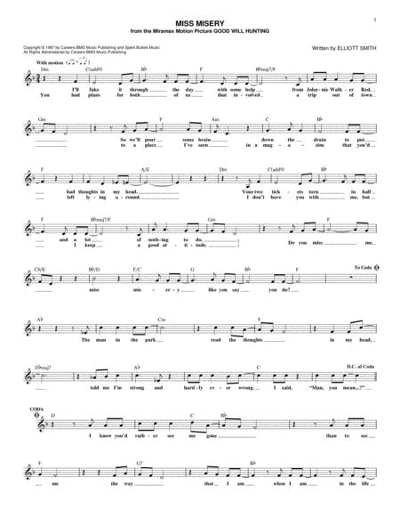 Download Miss Misery Sheet Music By Elliott Smith Sheet Music Plus