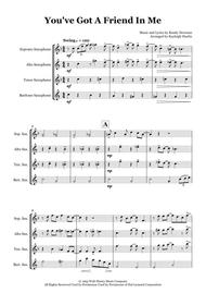 You've Got A Friend In Me - Saxophone quartet (SATB)