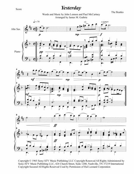 The Beatles: Yesterday for Alto Sax & Piano
