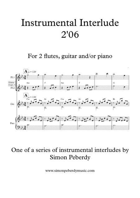 Melodious Instrumental Interlude 2'06 in Cmin for 2 flutes, guitar and/or piano by Simon Peberdy