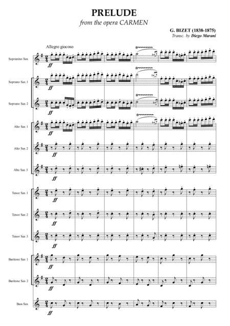 Carmen Overture (Prelude) for Saxophone Ensemble