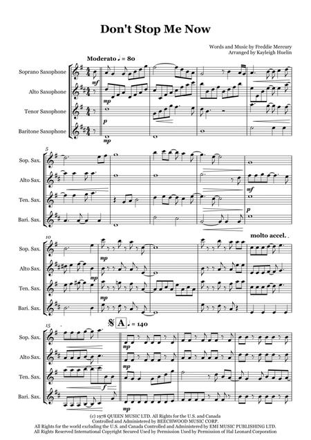 Don't Stop Me Now by Queen - Saxophone quartet (SATB)