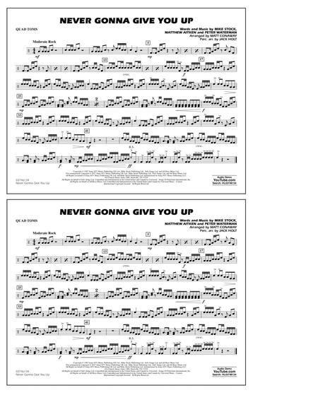 Download Never Gonna Give You Up Quad Toms Sheet Music By