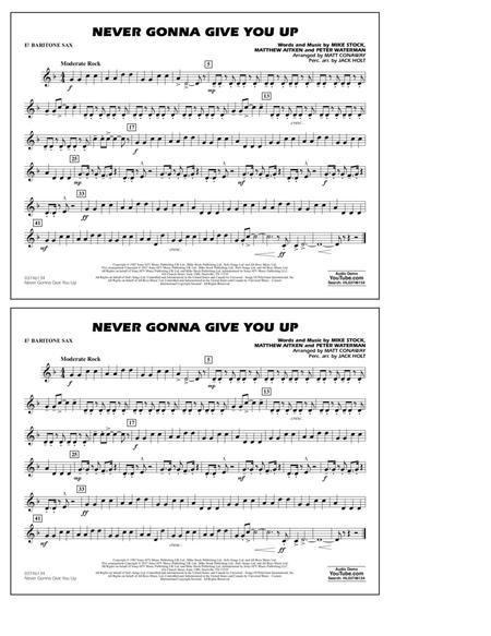 Download Never Gonna Give You Up Eb Baritone Sax Sheet