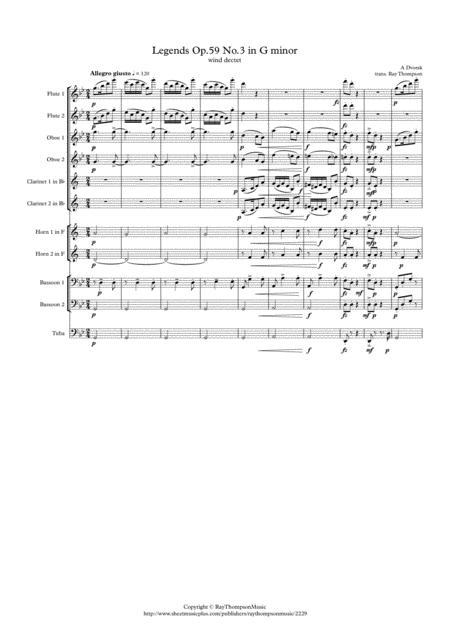 Dvorak: Legends Op.59 Mvt.3 in G minor - wind dectet (opt. tuba)