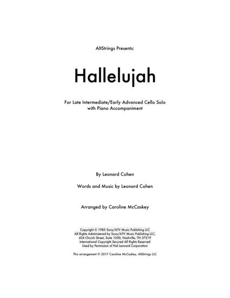 Hallelujah - Cello Solo with Piano Accompaniment