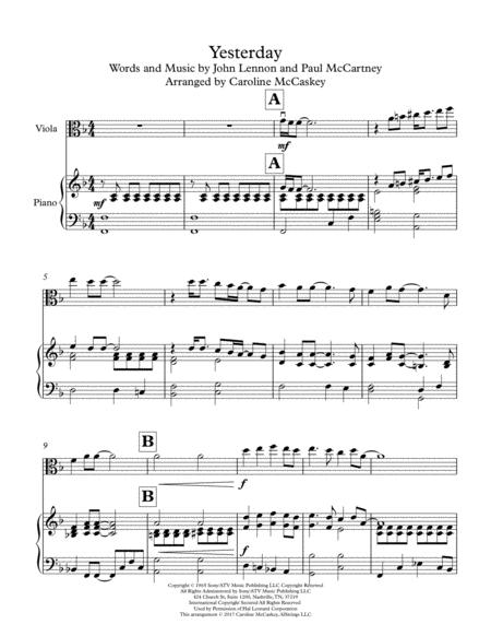 Preview Yesterday - For Viola Solo With Piano Accompaniment