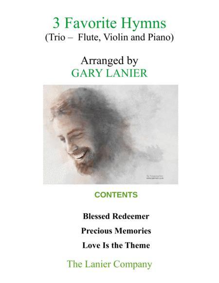 3 FAVORITE HYMNS (Trio - Flute, Violin & Piano with Score/Parts)