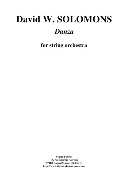 David Warin Solomons: Danza for string orchestra, score and parts