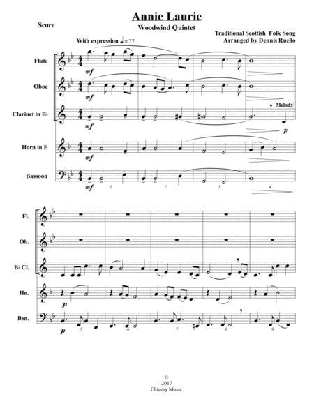 Annie Laurie - Woodwind Quintet - Intermediate Level