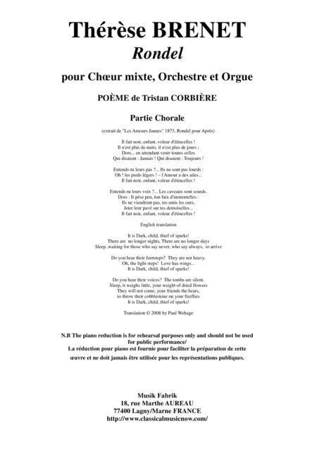Thérèse Brenet: Rondel for SATB chorus, orchestra and organ,chorus part