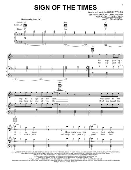 Download Sign Of The Times Sheet Music By Harry Styles - Sheet Music