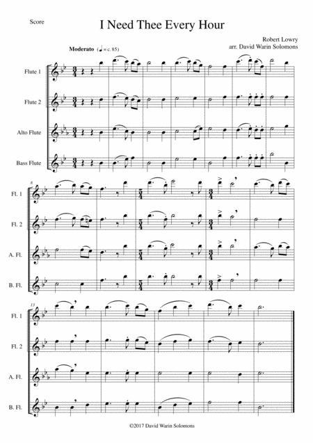 I Need Thee Every Hour for Flute quartet (2 C flutes, alto flute, bass flute)