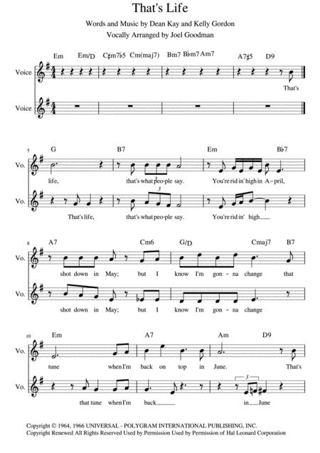 That's Life - arranged for vocal duet
