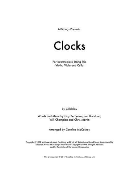 Clocks - String Trio (Violin, Viola and Cello)