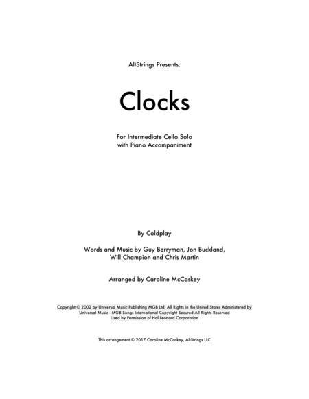Clocks - Cello Solo with Piano Accompaniment