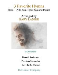 3 FAVORITE HYMNS (Trio - Alto Sax, Tenor Sax & Piano with Score/Parts)