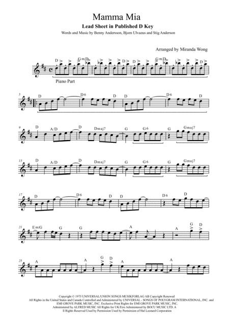 picture regarding Free Printable Flute Sheet Music identify Down load Mamma Mia - Flute And Piano Accompaniment (With
