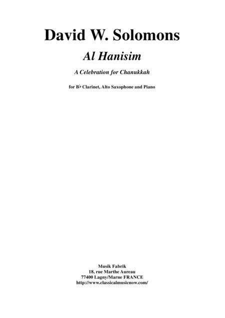 David Warin Solomons: Al Hanisim : A Chanukkah Celebration for Bb clarinet, alto saxophone and piano