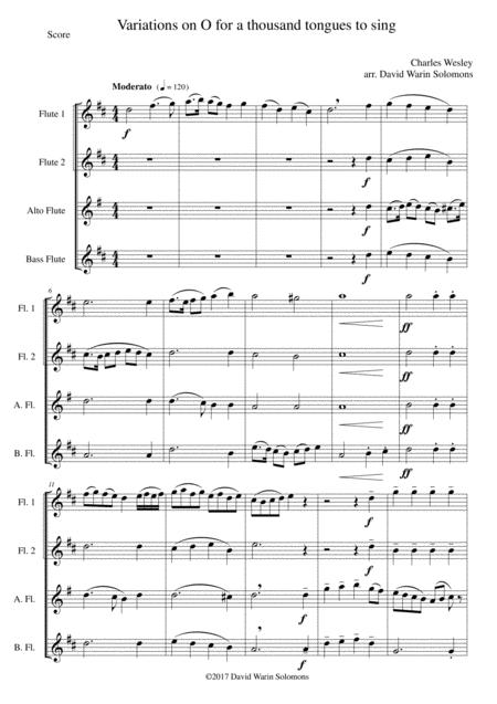 Variations on O for a thousand tongues to sing for Flute Quartet (2 flutes, alto and bass flutes)